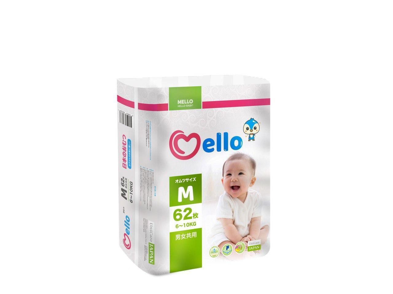 Подгузники Mello М (6-10 кг) 62 штуки