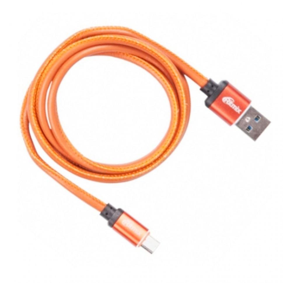 Кабель Ritmix RCC-415 MicroUSB-USB 2.5 A Leather