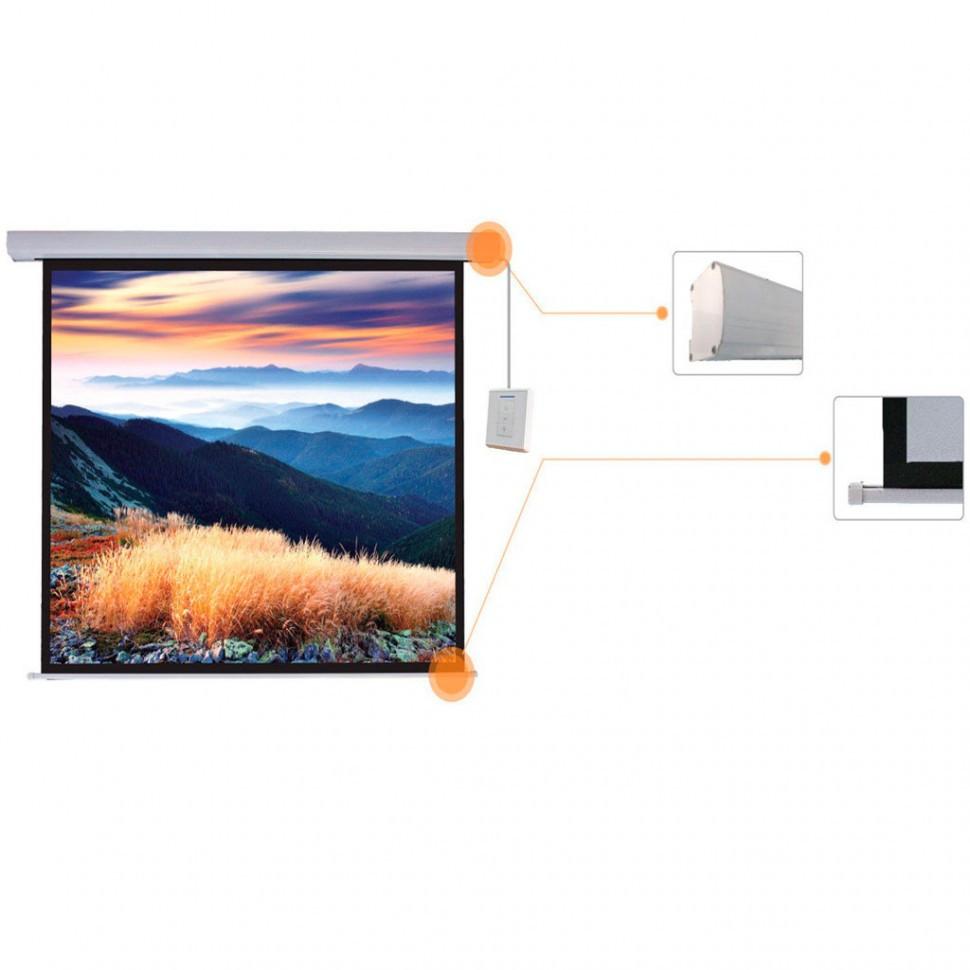 Экран моторизированный (с пультом Д/У), Deluxe, DLS-ERC305х229W, Настенный/потолочный, Рабочая повер