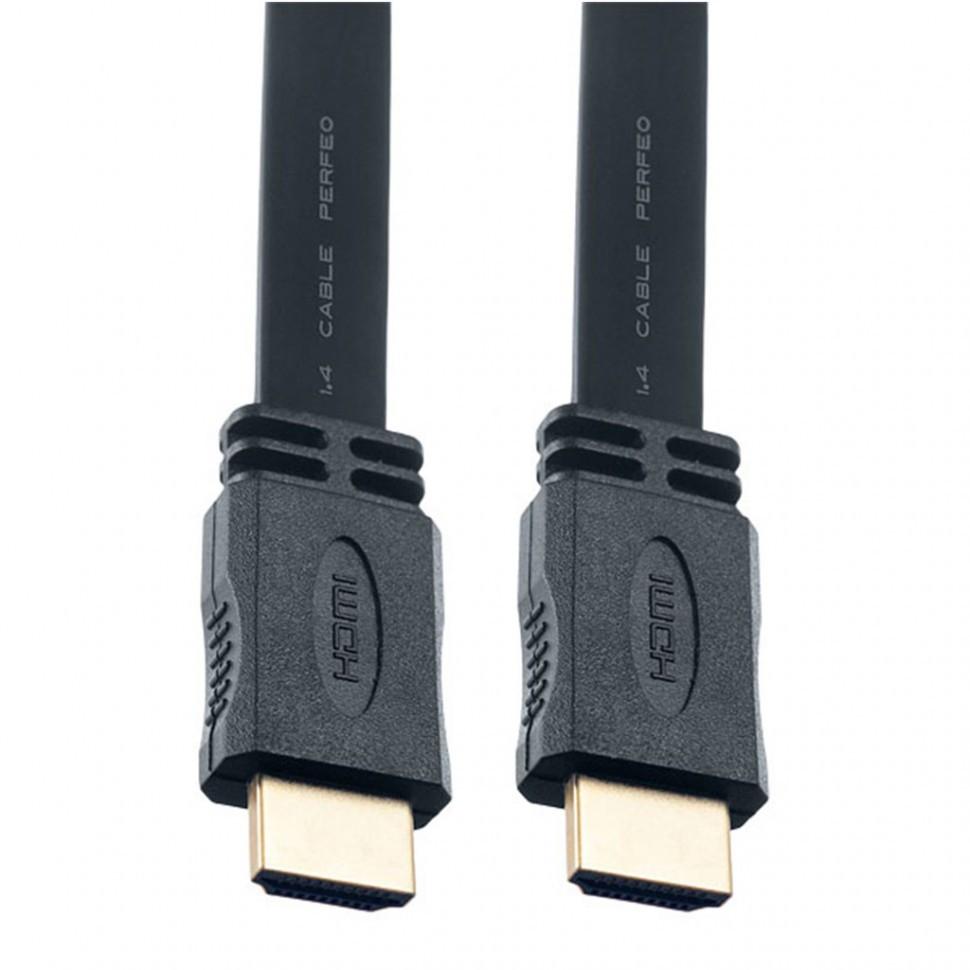 Кабель PERFEO HDMI A вилка - HDMI A вилка, плоский, ver.1.4, длина 3 м. (H1303)