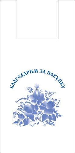 """Пакет """"майка""""28+14х49см ПНД, """"ГЖЕЛЬ"""", 100 шт"""