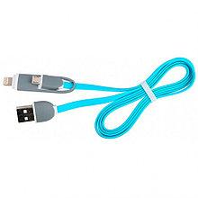 Кабель Ritmix RCC-200  2в1 MicroUSB+Lightning 8pin-USB голубой