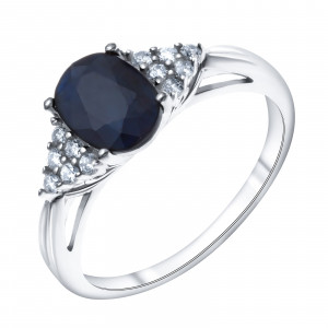 Кольцо из серебра с натуральным сапфиром и фианитом