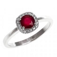 Кольцо из серебра с натуральным рубином и фианитом