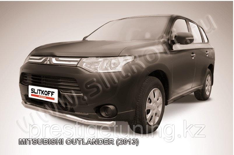"""Защита переднего бампера d57 """"волна"""" Mitsubishi Outlander 2012-14"""
