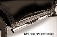 Защита порогов d76 с проступями Mitsubishi Outlander 2012-14