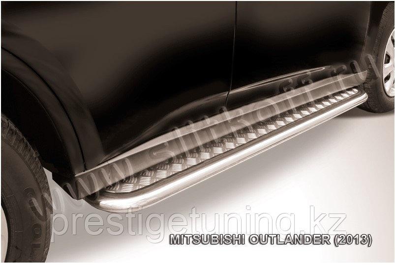 Защита порогов d42 с листом усиленная Mitsubishi Outlander 2012-14