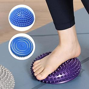 Массажная подушка полусфера,массажер ежик 16 см (цвет синий), фото 2