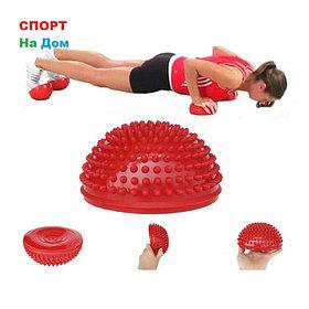 Массажная подушка полусфера,массажер ежик 16 см (цвет красный)