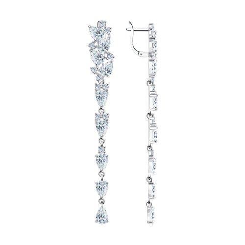 Серьги из серебра с фианитом