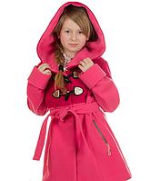 Демисезонное кашемировое пальто для девочки Букле с поясом