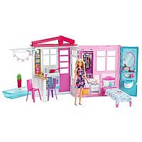 Barbie Игровой набор Раскладной Дом Барби с мебелью и аксессуарами, FXG55