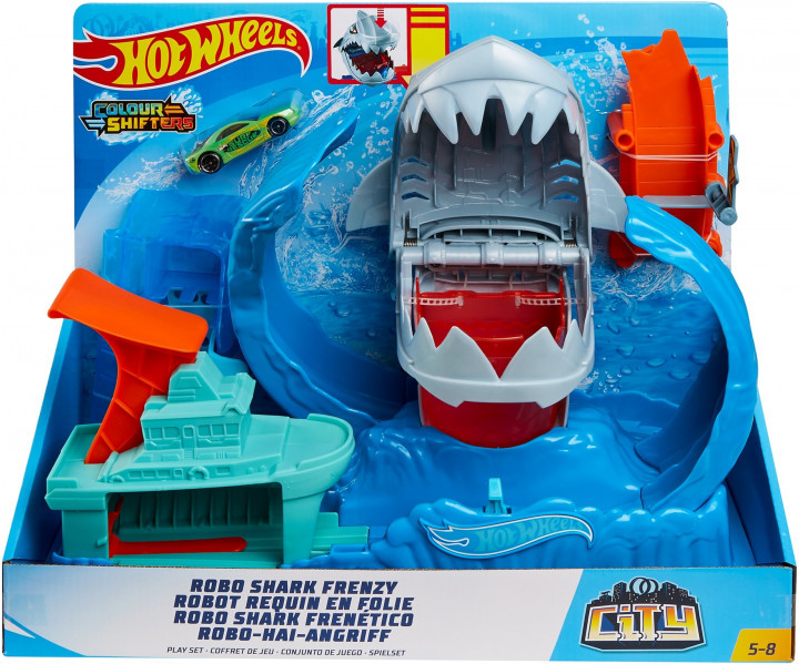 "Hot Wheels Игровой набор ""Голодная Акула-робот"", Хот Вилс Измени цвет"