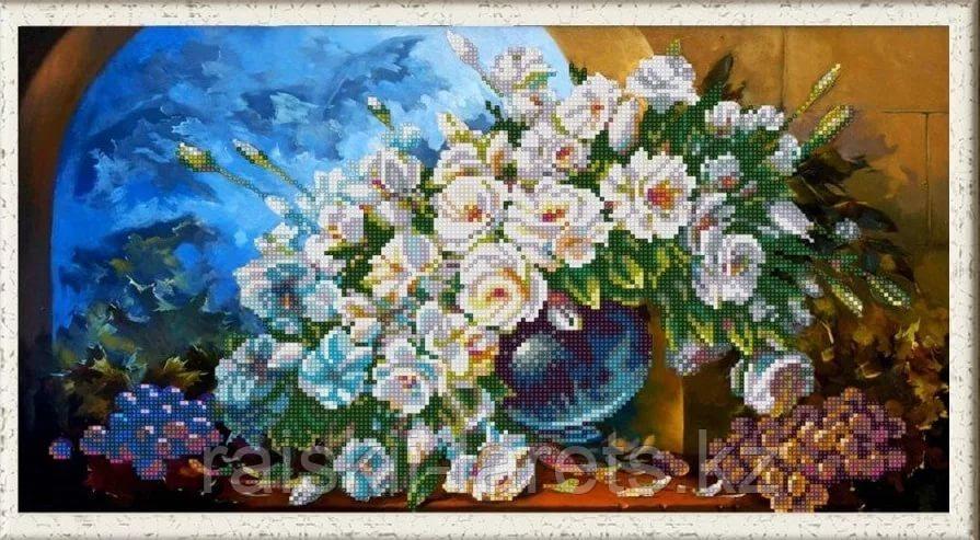 """Схема для вышивания бисером """"Букет из белых роз""""   НИК 1252"""