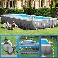 Каркасный бассейн, Ultra Frame Pool, Intex 26378NP 975х488х132 см полный комплект, фото 1
