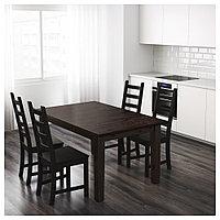 СТУРНЭС Раздвижной стол, коричнево-чёрный, 147/204x95 см, фото 1