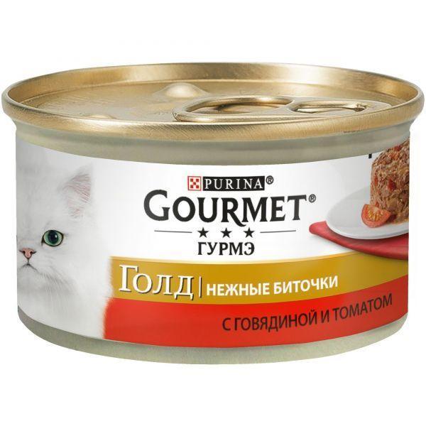 Консервы Gourmet Gold Нежные биточки для кошек (Говядина с томатами) - 85 г