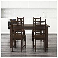 СТУРНЭС / КАУСТБИ Стол и 4 стула, коричнево-чёрный, 147 см, фото 1