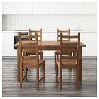 СТУРНЭС / КАУСТБИ Стол и 4 стула, морилка,антик, 147 см, фото 1
