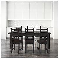 СТУРНЭС / КАУСТБИ Стол и 6 стульев, коричнево-чёрный, 201 см, фото 1