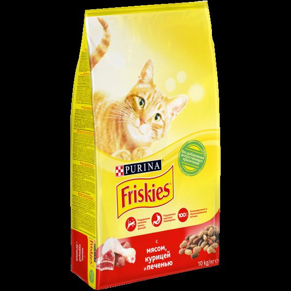 Корм Friskies для взрослых кошек (Мясо, курица и печень) - 10 кг