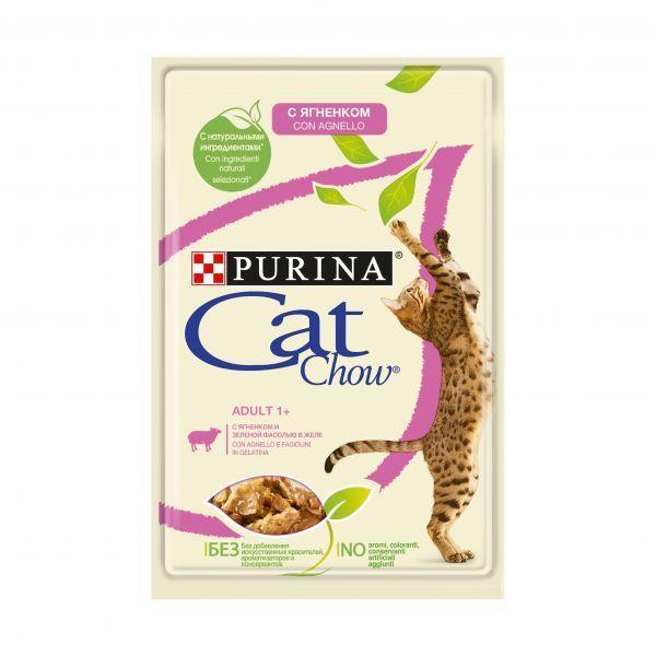Влажный корм Cat Chow для взрослых кошек (Ягненок и зеленая фасоль в желе) - 85 г
