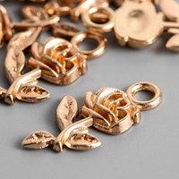 Подвеска 'Цветок' 2х1 см розовое золото (комплект из 20 шт.)