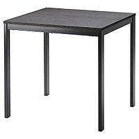 ВАНГСТА Раздвижной стол, черный, темно-коричневый, 80/120x70 см, фото 1