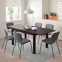 ЛАНЕБЕРГ Раздвижной стол, коричневый, 130/190x80 см