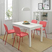 ЛАНЕБЕРГ / КАРЛ-ЯН Стол и 4 стула, белый, красный красный, 130/190x80 см, фото 1