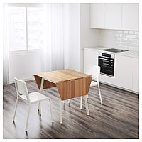 ИКЕА ПС 2012 / ТЕОДОРЕС Стол и 2 стула, бамбук белый, белый, фото 1