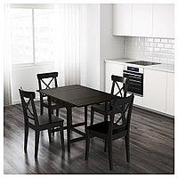 ИНГАТОРП Стол c откидными полами, черно-коричневый, 65/123x78 см, фото 1