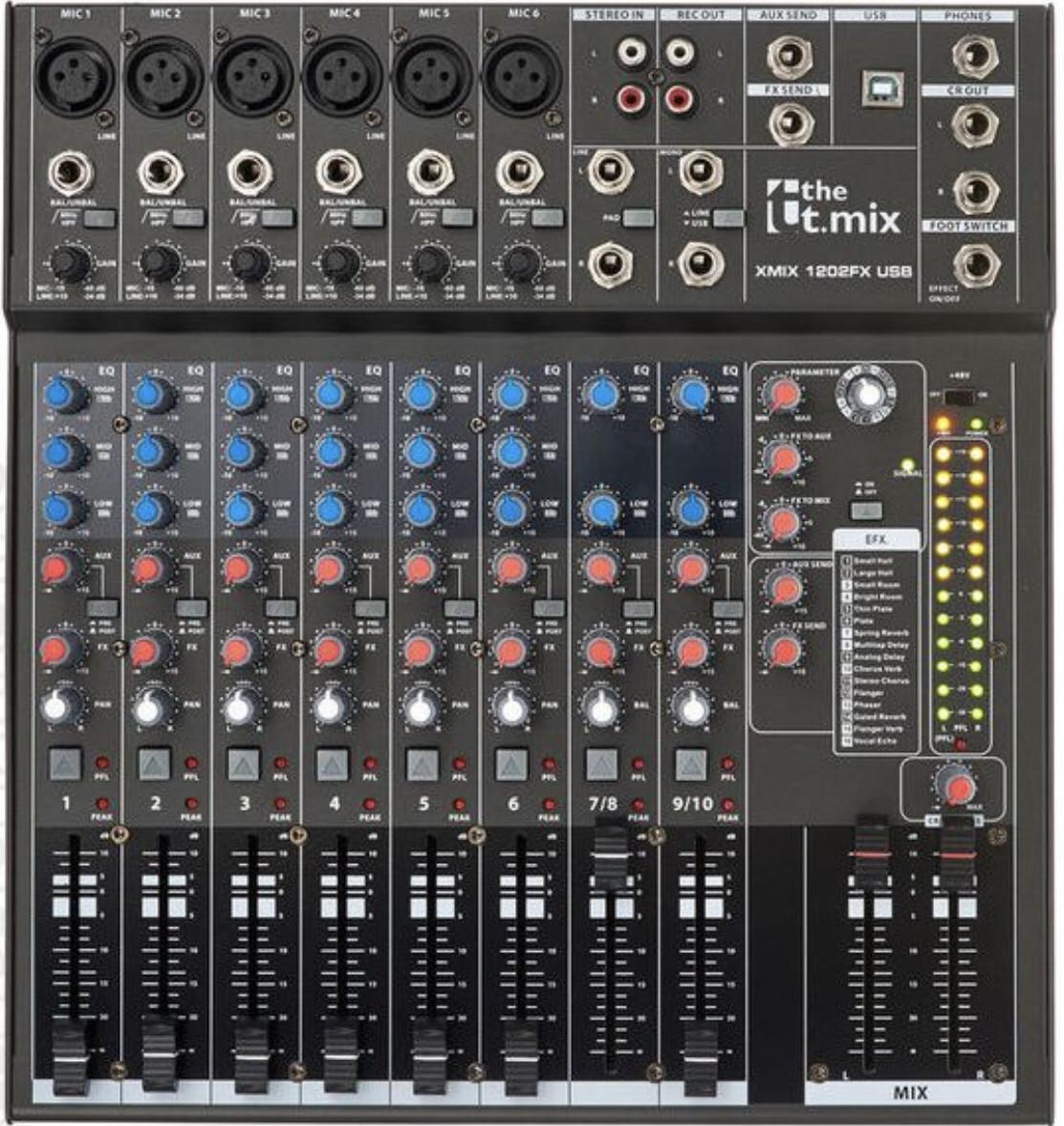 Пассивный микшерный пульт The t.mix 1202FX USB