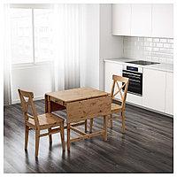 ИНГАТОРП Стол c откидными полами, морилка,антик, 65/123x78 см, фото 1