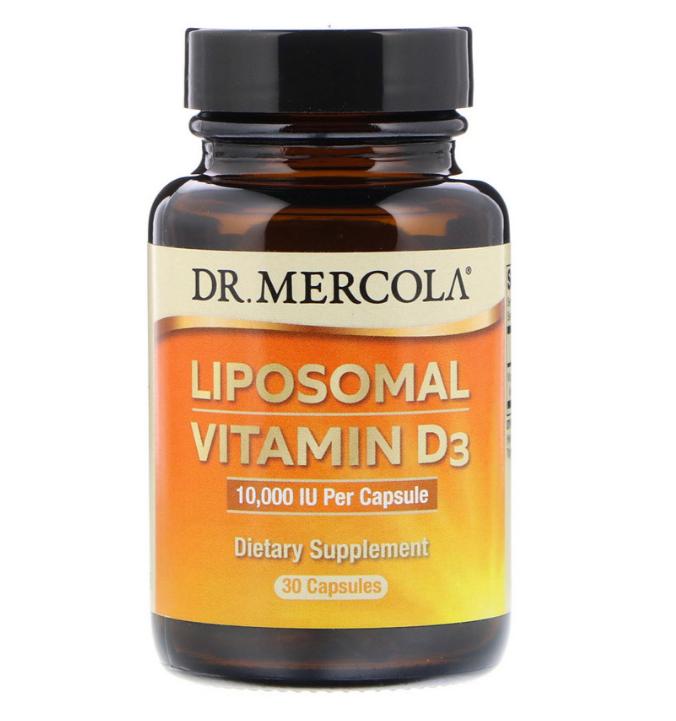 Dr. Mercola, Липосомальный витамин D3, 10 000 МЕ, 30 капсул