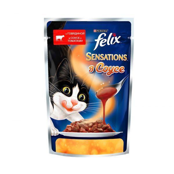 Влажный корм Felix Sensations в Удивительном соусе для кошек (Говядина и томаты) - 85 г