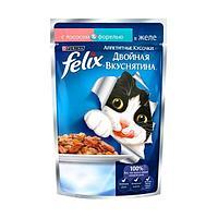 Влажный корм Felix Аппетитные кусочки Двойная вкуснятина для кошек (Лосось и форель) - 85 г