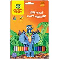 """Карандаши цветные Мульти-Пульти """"Енот в Индии"""", шестигранная, 18 цветов"""