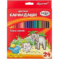 """Карандаши цветные Гамма """"Мультики"""", 24 цвета"""