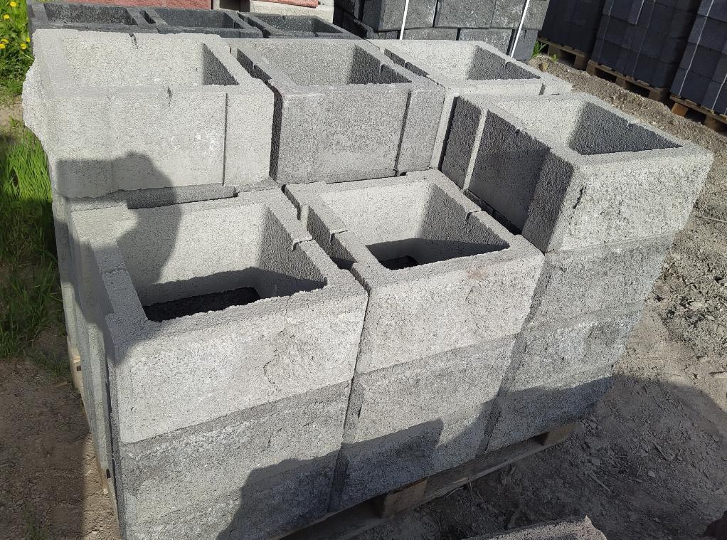 Блок - тумба 390*390*190 мм Рванная Серая для колонны Бетонный блок столба