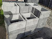 Блок - тумба 390*390*190 мм Рванная Серая для колонны Бетонный блок столба, фото 1