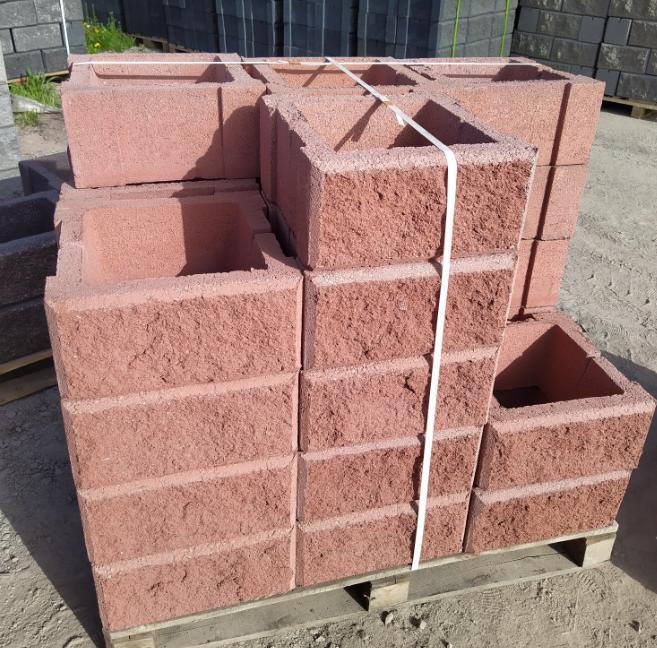 Блок - тумба 390*390*190 мм Рванная Красная для колонны Бетонный блок столба