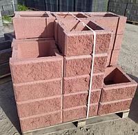 Блок - тумба 390*390*190 мм Рванная Красная для колонны Бетонный блок столба, фото 1