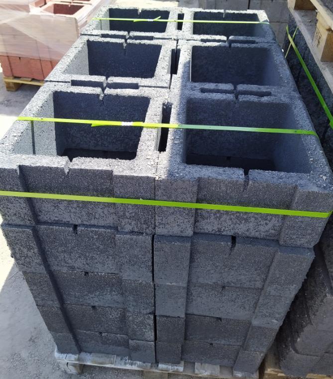 Блок - тумба 390*390*190 мм Рванная Чёрная для колонны Бетонный блок столба