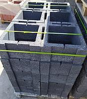 Блок - тумба 390*390*190 мм Рванная Чёрная для колонны Бетонный блок столба, фото 1