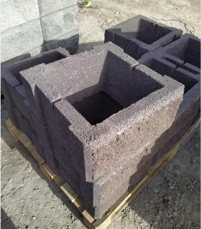 Блок - тумба 390*390*190 мм Рванная Коричневая для колонны Бетонный блок столба