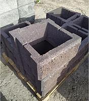 Блок - тумба 390*390*190 мм Рванная Коричневая для колонны Бетонный блок столба, фото 1