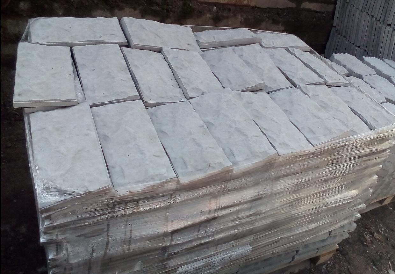 Дикий Камень Серая Фундаментная плитка  , 300*150 мм  вибролитая