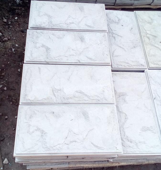 Дикий Камень Серая Фундаментная плитка  , 390х190 мм  вибролитая