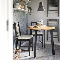 ГАМЛАРЕД Стол и 2 стула, светлая морилка антик, коричнево-чёрный, фото 1